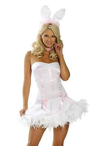 Sexy Bunny Costume for Women White Pink Animal Rabbit Uniform