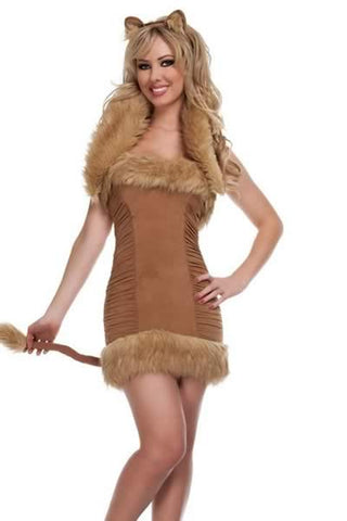 Sexy Lion Costume for Women Brown Halloween Animal Uniform