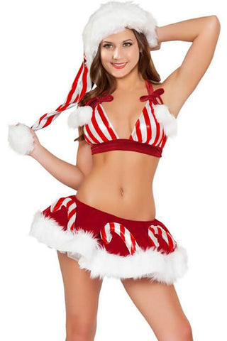 Candy Cane Santa Lingerie for Women Sexy Christmas Costumes