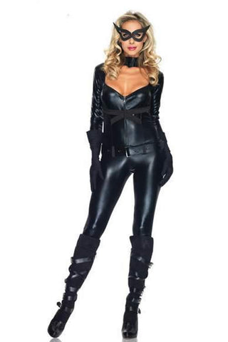 Cat Costume for Girl Black Backless Halloween Catwoman Uniform