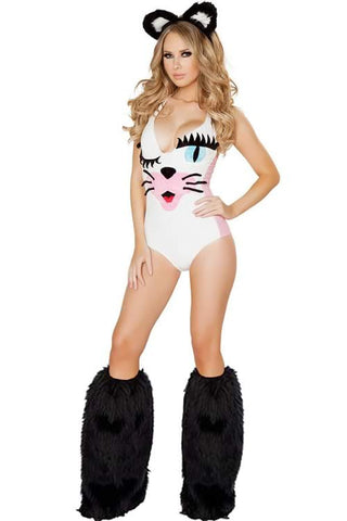 White Sexy Kitty Costume for Women Cute Cat Bodysuits Uniform