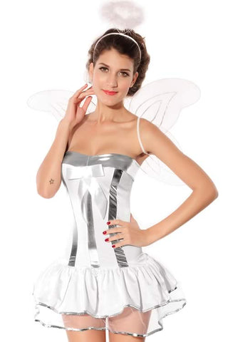 Sexy White Angel Costume for Women Halloween Elf Dress Outfit