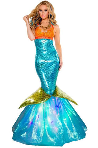 Mermaid Princess Long Dress for Women Halloween Party Costume