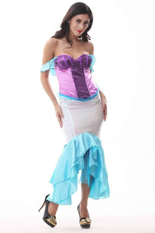 Sexy Mermaid Gown for Women Purple Halloween Costume Uniform