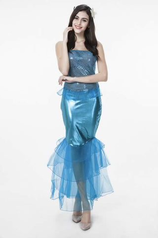 Cute Mermaid Princess Gown for Women Blue Party Costume