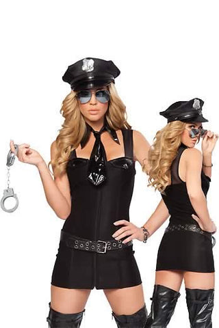 Dream Police Costume for Women Black Sexy Cop Uniform