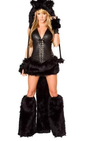 Deluxe Cat Costume for Women Halloween Skunk Uniform Outfit