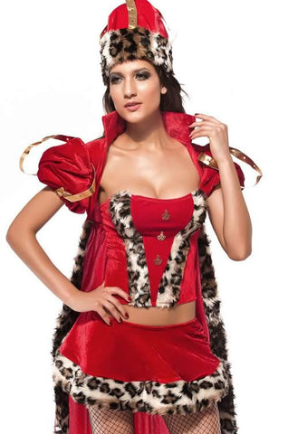 Deluxe Queen Costume for Women Red Fairy Tale Knight Outfit