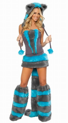 Cheshire Cat Costume for Women Sexy Blue Skunk Outfit