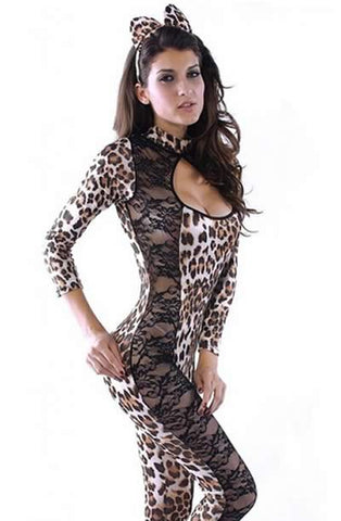 Sexy Cat Costume for Women Lace Leopard Uniform Outfit