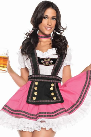 Sweet Beer Babe Costume for Women 4pcs Maid Uniform Outfit