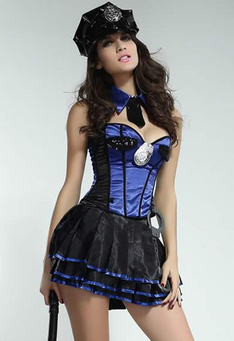 Luxury Police Costume for Women Sexy Blue Cop Uniform Outfit
