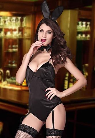 Bunny Costume for Women Black Teddy Lingerie Uniform Outfit