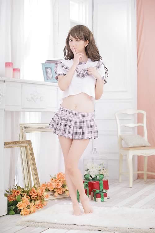 Romantic School Girl Costume with Plaid Skirt Lingerie Student Outfit