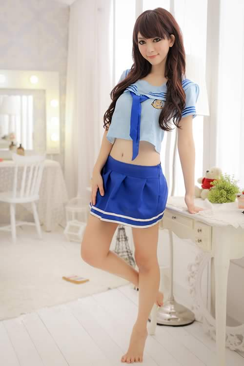 Blue School Girl Costume with Sexy Student Lingerie Outfit