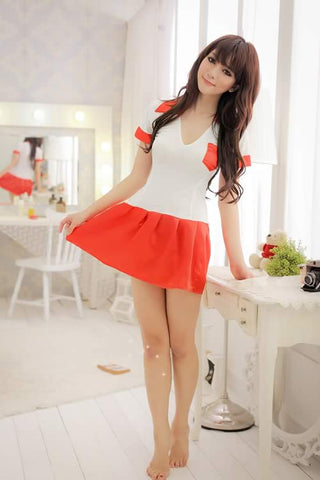 Orange School Girl Costume for Women Role Play Student Uniform