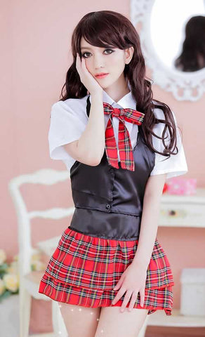 Deluxe School Girl Costume for Women Sexy Office Uniform Outfit