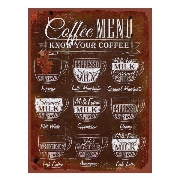 Quadro de Metal - Coffee Menu