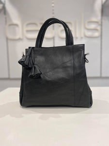Leather Black Grab Handle Bag