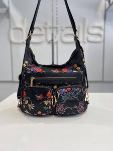 Floral Convertible Backpack Bag