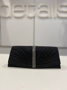 Black Glitter Clutch With Pleated Front