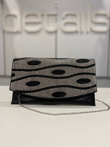 Black Envelope Clutch With Diamante Flap