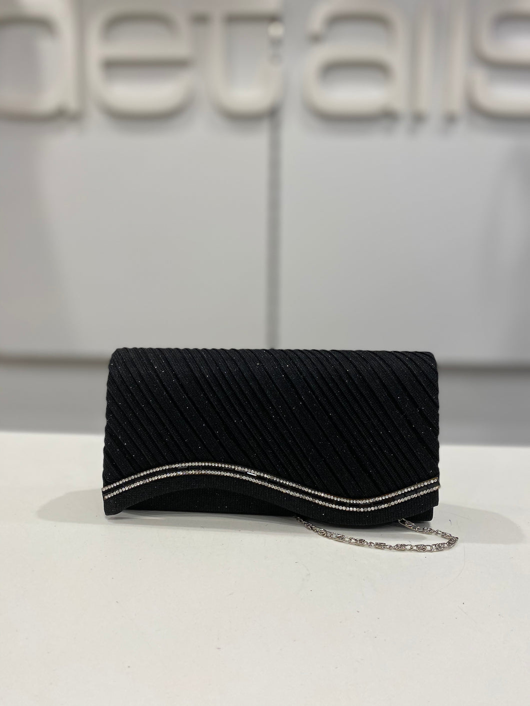 Black Clutch With Diamante Wave Trim