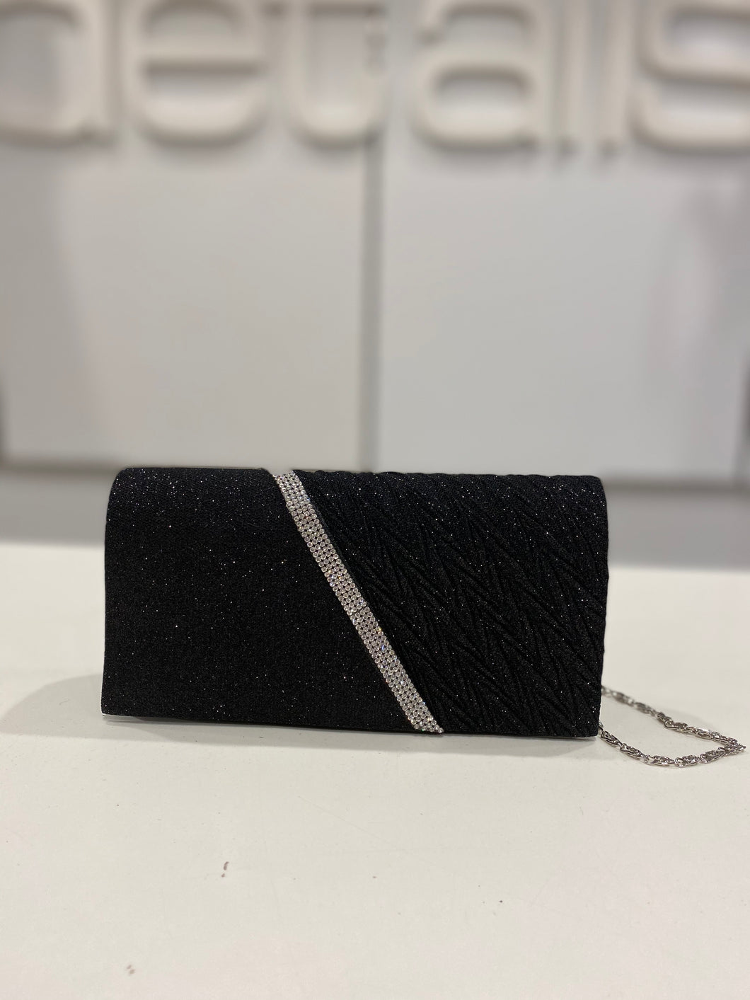 Black Glitter Clutch With Diamante Detail