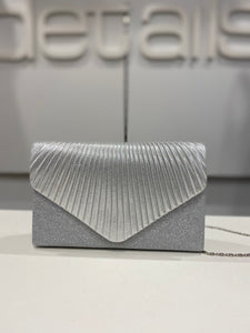 Silver Glitter Clutch With Ribbed Flap