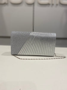 Silver Glitter Clutch With Pleated Front
