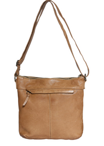 Ladies Leather Crossbody Bag Beige