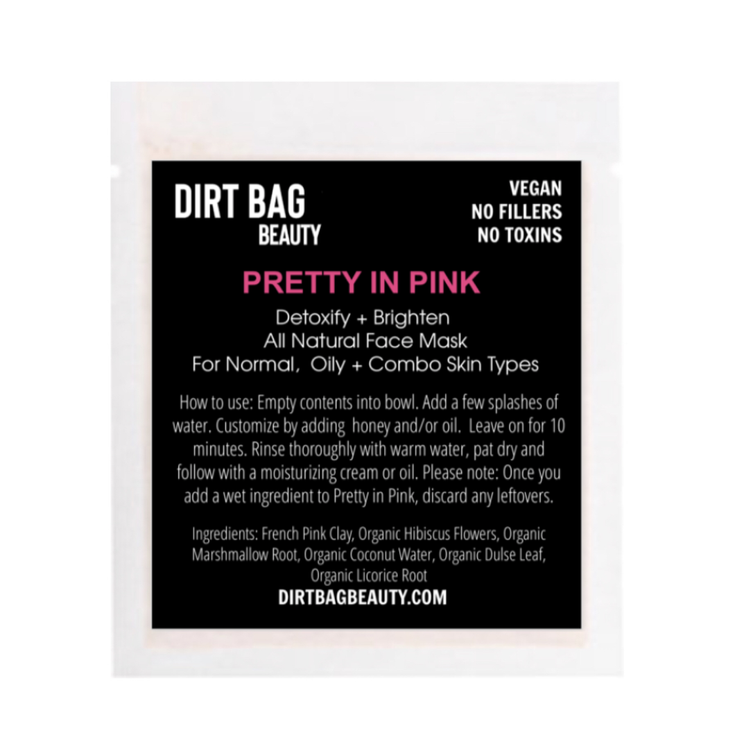 All Natural Vegan Facial Mask - Pretty in Pink Single use