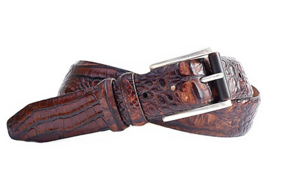 Hadley Baby Hornback Alligator Grain Leather Belt in Whiskey