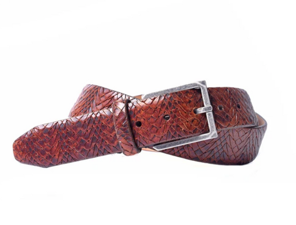 Drayden Basket Weave Belt in Chestnut