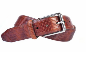 Devereux Mini Plaid Vintage Italian Saddle Leather Belt in Chestnut