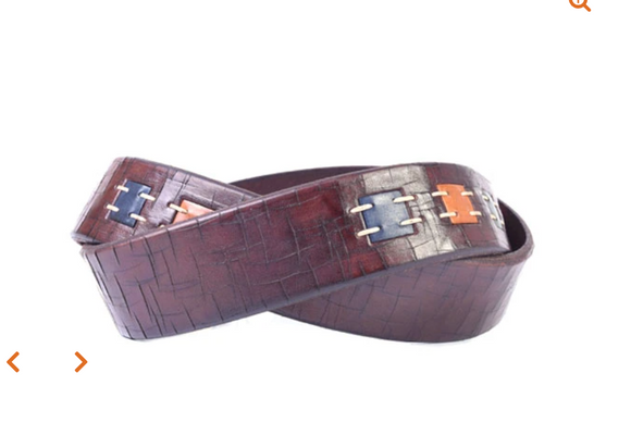 Artisan Inlay Cross-Cut Italian Leather Belt in Walnut
