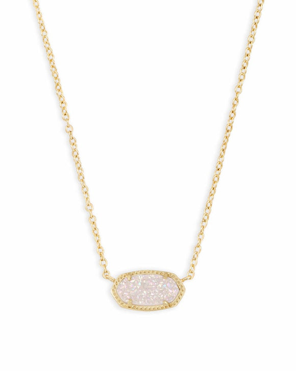 Elisa Gold Pendant with White Drusy