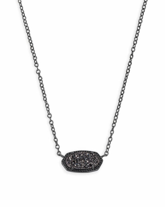 Elisa Gunmetal Pendant with Black Drusy