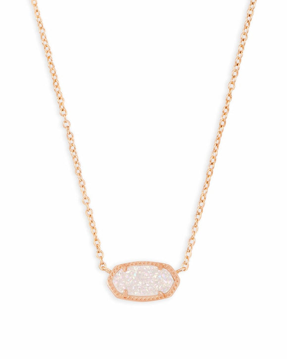 Elisa Rose Gold Pendant with White Iridescent Drusy