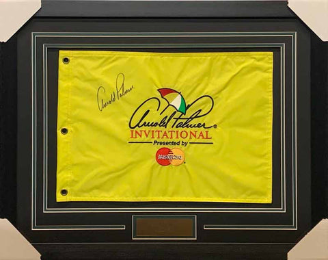 Arnold Palmer Signed Yellow Arnold Palmer Invitational Pin Flag - Professionally Framed