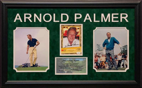 Arnold Palmer Signed 3M Card with 2 8x10 Photos and Stat Display - Professionally Framed