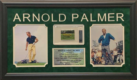 Arnold Palmer Signed Access Card with 2 8x10 Photos and Stat Display - Professionally Framed