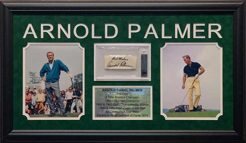 Arnold Palmer Cut Signature with Best Wishes Beckett Slabbed with 2 8x10 Photos (Yellow Pants Right) and Stat Display - Professionally Framed
