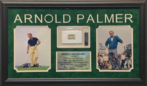 Arnold Palmer Cut Signature with Best Wishes Beckett Slabbed with 2 8x10 Photos (Yellow Pants Left) and Stat Display - Professionally Framed