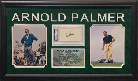 Arnold Palmer Cut Signature Beckett Slabbed with 2 8x10 Photos (Yellow Pants Right) and Stat Display - Professionally Framed