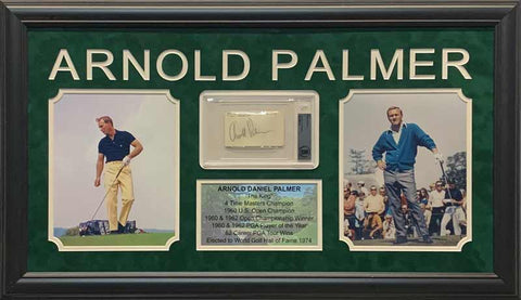Arnold Palmer Cut Signature Beckett Slabbed with 2 8x10 Photos (Yellow Pants Left) and Stat Display - Professionally Framed