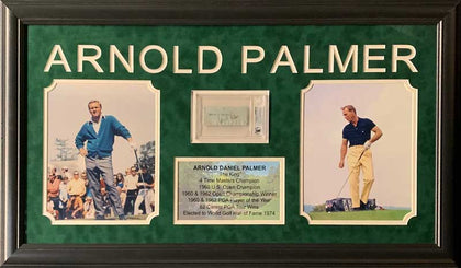 Arnold Palmer Cut Signature (White Paper Angled Sig) Beckett Slabbed with 2 8x10 Photos (Yellow Pants Right) and Stat Display - Professionally Framed
