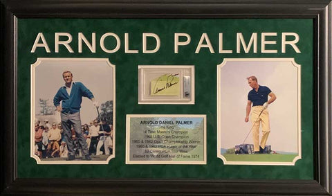 Arnold Palmer Cut Signature (Yellow Paper Angled Sig) Beckett Slabbed with 2 8x10 Photos (Yellow Pants Right) and Stat Display - Professionally Framed
