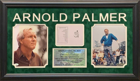 Arnold Palmer Signed Brown Shirt 8x10 Photo with Master Scorecard, 8x10 and Stat Display - Professionally Framed