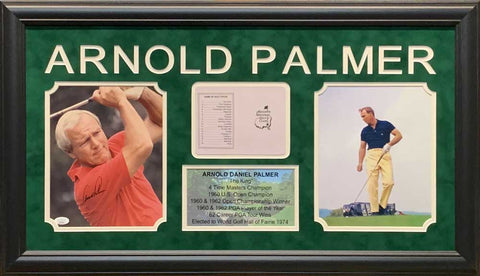 Arnold Palmer Signed Red Shirt 8x10 Photo with Master Scorecard, 8x10 and Stat Display - Professionally Framed